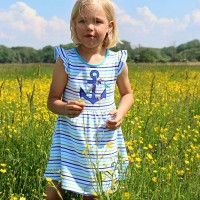 Streifenkleid Maritim Anker blau