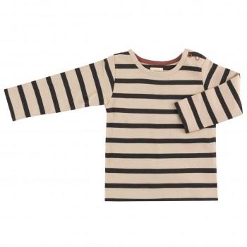 Shirt Langarm creme-schwarz gestreift