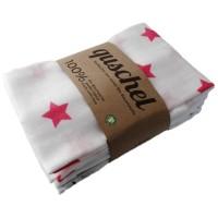 Bio Mulltuch 4er Pack pink/grau 65 x 65cm