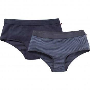 Doppelpack Damenpanty uni + gestreift dunkelblau