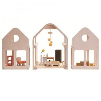 Puppenhaus möbliert zum Tragen und Schieben