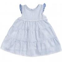 Langes Web-Slub Baby Kleid mit Streifen