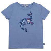 Meerjungfrau mit Delfin Aufnäher T-Shirt hellblau