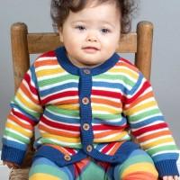 Hochwertige Baby Strickjacke Regenbogen-Design
