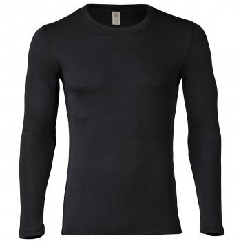 Wolle Seide Herren Langarmshirt schwarz