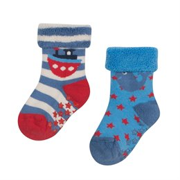 Neutrale öko Stoppersocken warm aus Frottee - 2er Pack