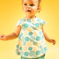 Leichtes schickes Babyshirt Blumen gelb-blau