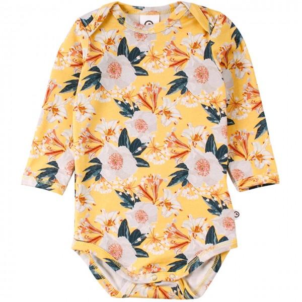 Edler Langarmbody Blumen in gelb