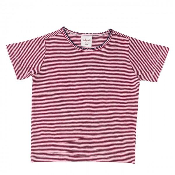 Mädchen Shirt rot gestreift mit Mäusezähnchen Rand