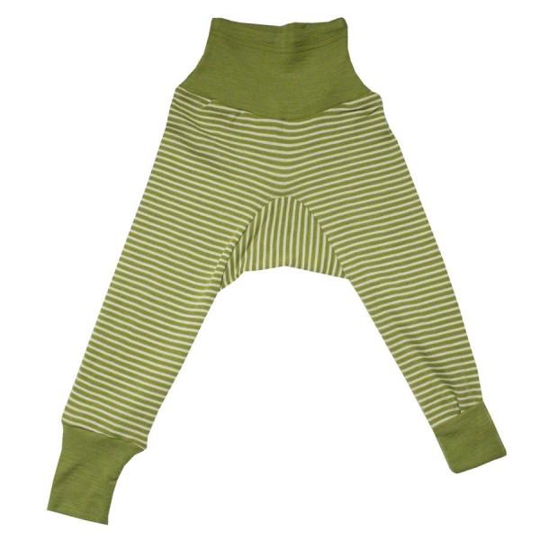 Wolle Seide Hose Bündchen grün gestreift