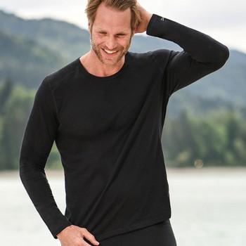 Wolle Seide Herren Langarmshirt Regular Fit schwarz