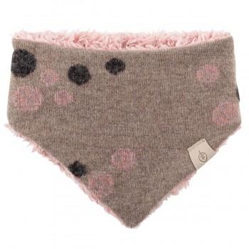 Winter Dreiecktuch Plüsch Punkte beige-rosa