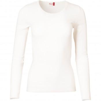 Damen Wolle Seide Langarmshirt weiß