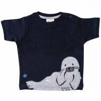T-Shirt mit Robben Aufnäher navy