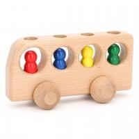 Bus natur mit 4 Männlein Holzfahrzeug