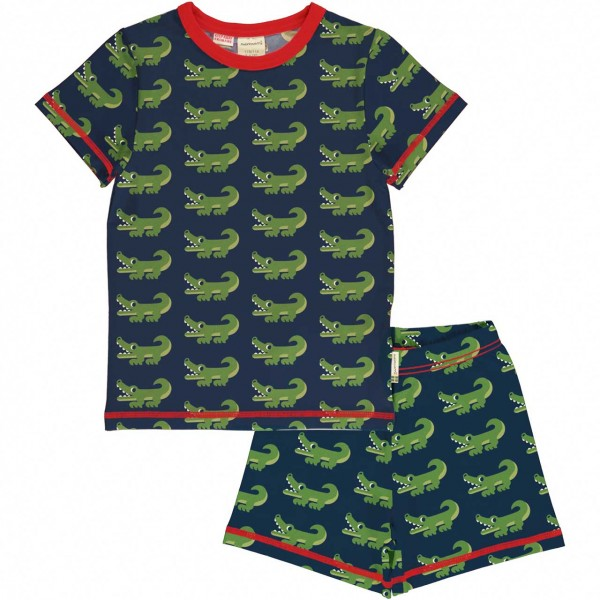 Sommer Schlafanzug Krokodil navy