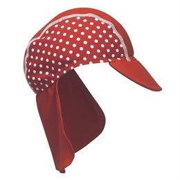 Schirmmütze mit Nackenschutz - rot mit Punkten