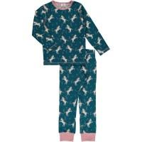 Schlafanzug Mädchen blau Einhorn