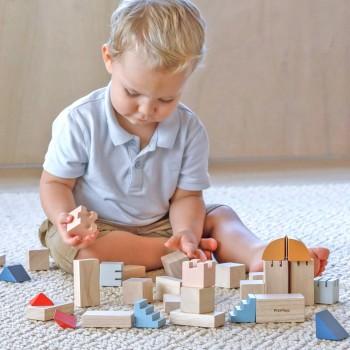Holz Bauklötze zum Bauen einer Burg oder Stadt ab 18 Monaten
