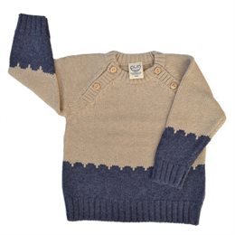 Strickpullover Zopfmuster Wolle Biobaumwolle Mix - neutral