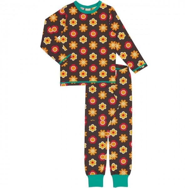 Schlafanzug langarm Blumen braun