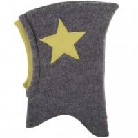 Woll Schlüpfmütze Sternen-Aufnäher schiefer