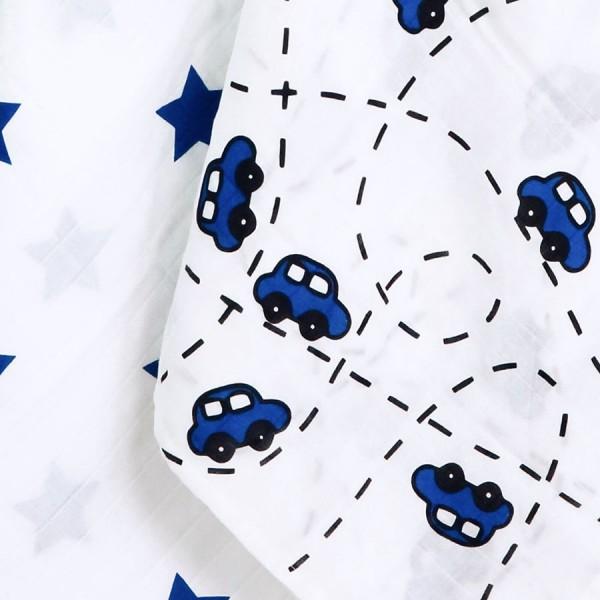 Bio Pucktuch XL 2er Pack Sterne & Autos blau