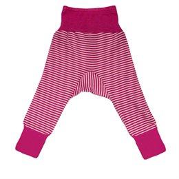 Wolle Seide Hose Bündchen rosa/pink gestreift