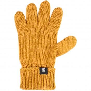 Fingerhandschuhe Umschlagbund Wolle Seide bernstein