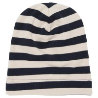 Warme Beanie navy-grau gestreift