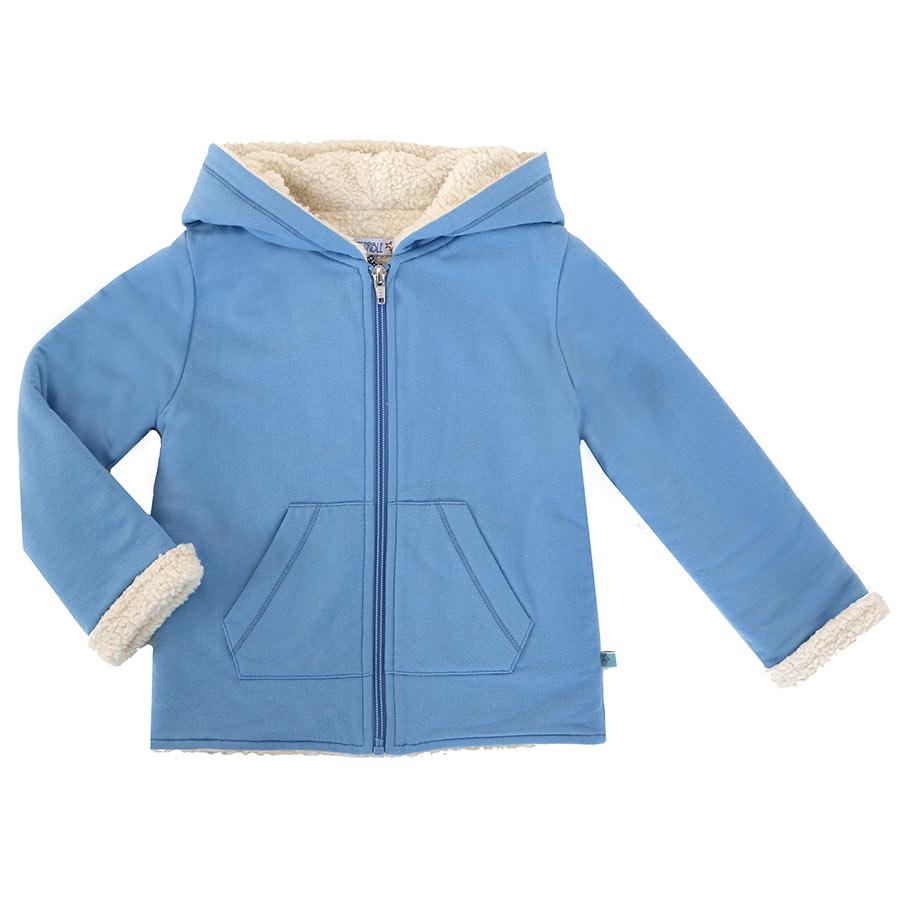 Blaue plusch jacke
