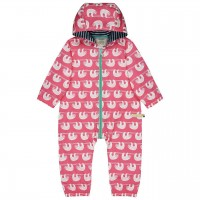 Ungefütterter leichter Baby Overall Faultiere pink