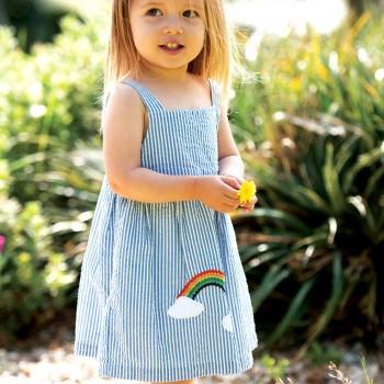 Trägerkleid blau Regenbogen
