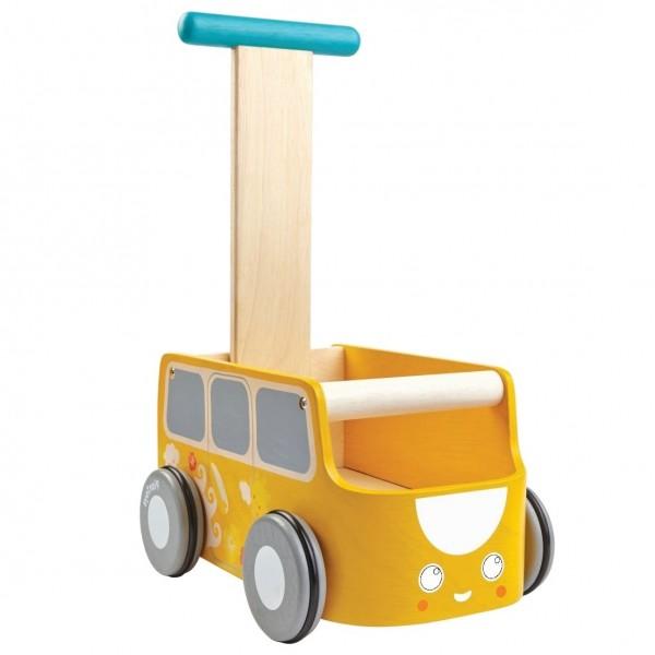 Gelber Lauflernwagen mit Stauraum