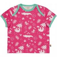 Leichtes Kurzarm Shirt Dschungel pink