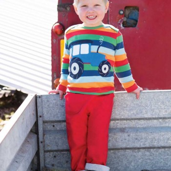 Langarmshirt Traktor Regenbogen-Streifen
