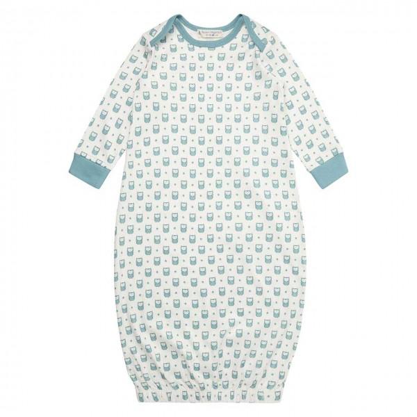 Bio Schlafhemd Babyschlafsack Eulen blau