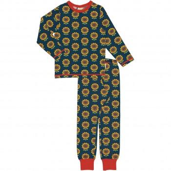Schlafanzug Sonnenblumen langarm blau