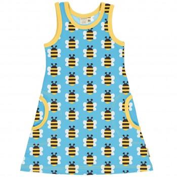 Sommerliches Kleid ohne Arm Hummeln in hellblau