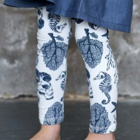 Edle Leggings elastisch Muscheln creme