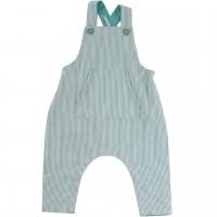 Baby Strampler Latzhose blau-grau