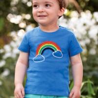 T-Shirt Regenbogen Aufnäher blau
