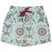 Leichte Popeline Shorts Mosaik in grün