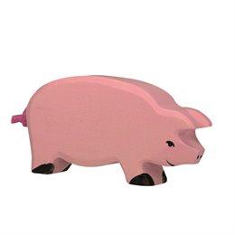 Holzfigur Schwein - auf dem Bauernhof