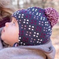 Weiche Wintermütze - Wolle, Seide & Biobaumwolle Punkte