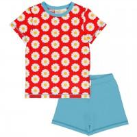 Sommer Schlafanzug Gänseblümchen rot