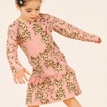 Kleid langarm Gepard rosa