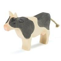 Kuh schwarz Holzfigur stehend 9,5 cm hoch