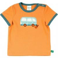 Shirt kurzarm Bus Stickerei in hellem orange