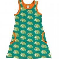 Sommerliches Kleid ohne Arm Chamäleon grün